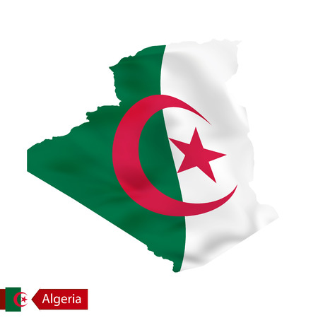 Algeria map with waving flag of country. Vector illustration. Illustration