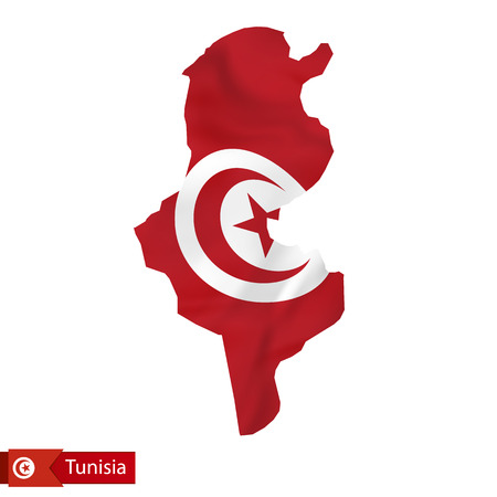 Tunisia map with waving flag of country. Vector illustration.