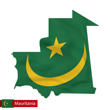 Mauritania map with waving flag of country. Vector illustration. Illustration