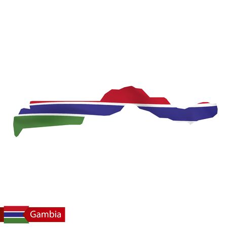 Gambia map with waving flag of country. Vector illustration.
