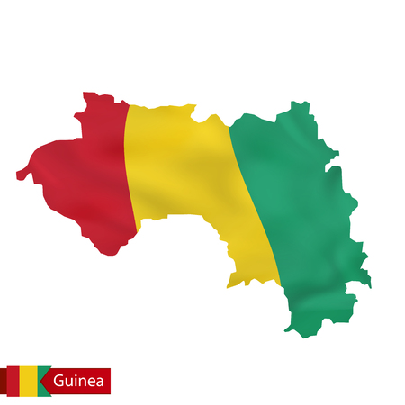 Guinea map with waving flag of country. Vector illustration. Illustration