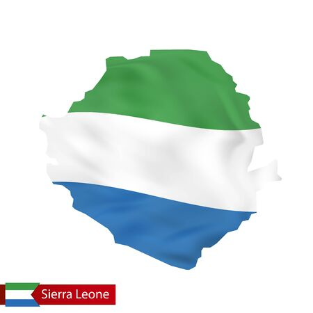 Sierra Leone map with waving flag of country. Vector illustration. Illustration