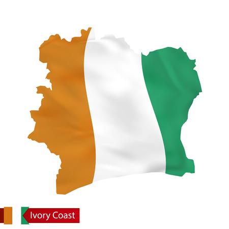 コートジボワール地図の国の旗を振っています。ベクトルの図。