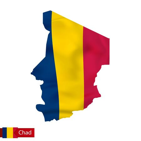 Chad map with waving flag of country. Vector illustration. Vetores