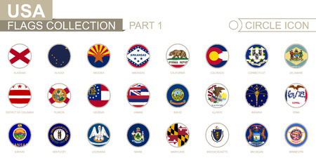 Alphabetically sorted circle flags of US States. From Alabama to Minnesota. Set of round flags. Vector Illustration.