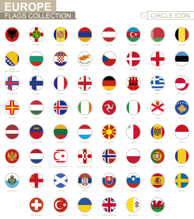ireland flag: Alphabetically sorted circle flags of Europe. Set of round flags. Vector Illustration. Illustration