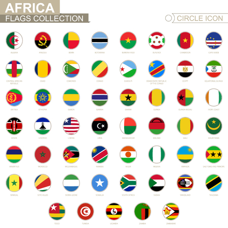 mauritania: Alphabetically sorted circle flags of Africa. Set of round flags. Vector Illustration.