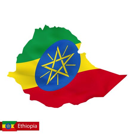 national flag ethiopia: Ethiopia map with waving flag of country. Vector illustration.