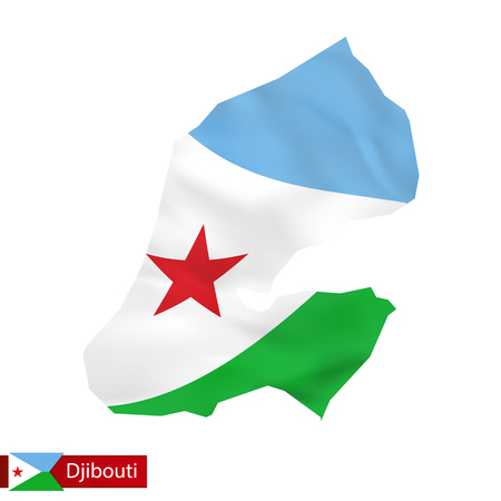 Djibouti map with waving flag of country. Vector illustration.