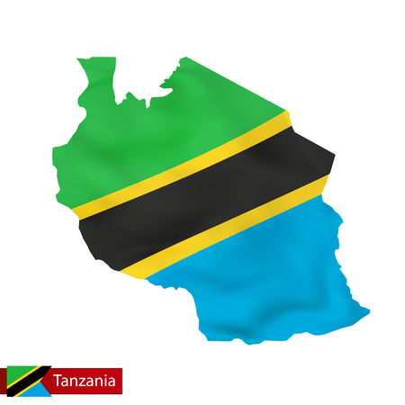 Tanzania map with waving flag of country. Vector illustration.