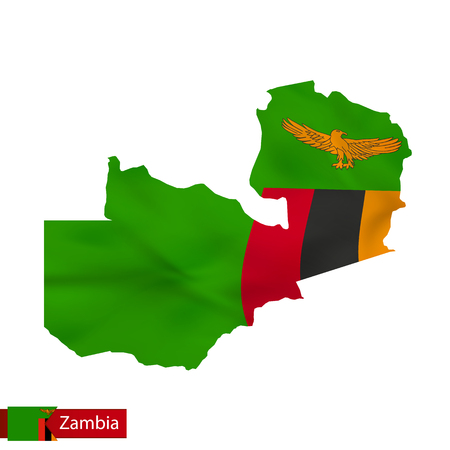 Zambia map with waving flag of country. Vector illustration. Illustration