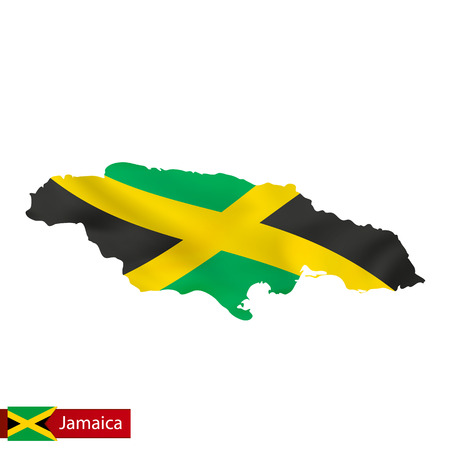 Jamaica map with waving flag of country. Vector illustration. Çizim