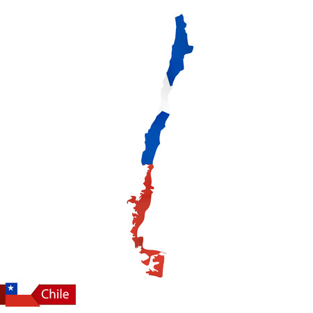 Chile map with waving flag of country. Vector illustration.