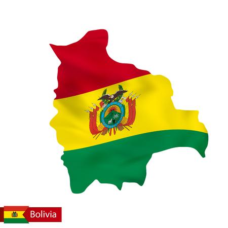map bolivia: Bolivia mapa con la bandera del país. Ilustración del vector.