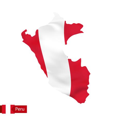 bandera de peru: Mapa de Perú con la bandera ondeando del país. Ejemplo del vector