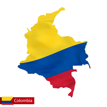 Colombia map with waving flag of country. Vector illustration.