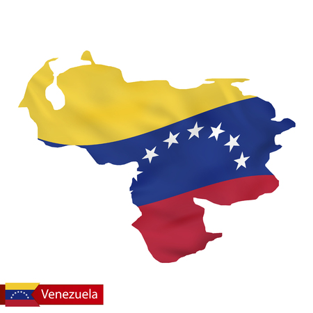 Venezuela map with waving flag of country. Vector illustration.