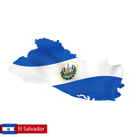 El Salvador map with waving flag of country. Vector illustration.