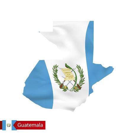 guatemalan: Guatemala map with waving flag of country. Vector illustration.