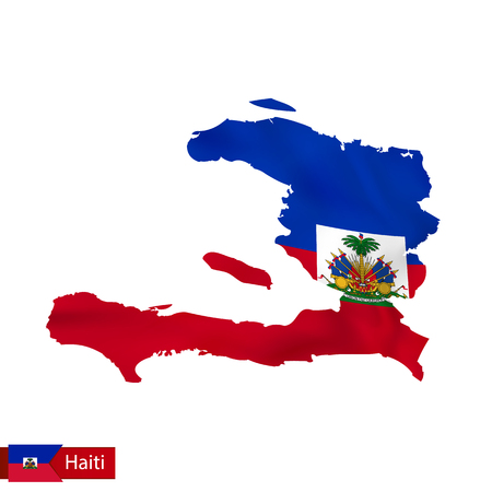 Haiti map with waving flag of country. Vector illustration. Illustration