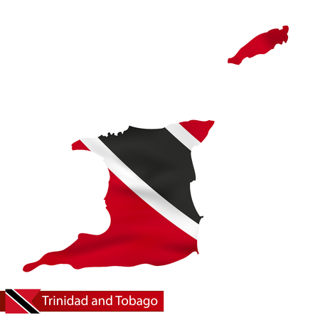 Trinidad and Tobago map with waving flag of country. Vector illustration.