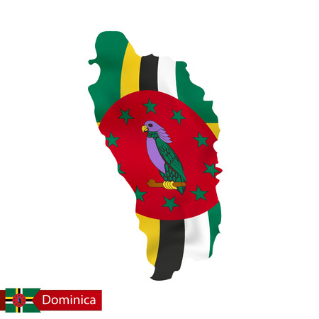 Dominica map with waving flag of country. Vector illustration.