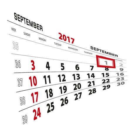 beginnings: September 1, highlighted on 2017 calendar. Week starts from Sunday. Vector Illustration.