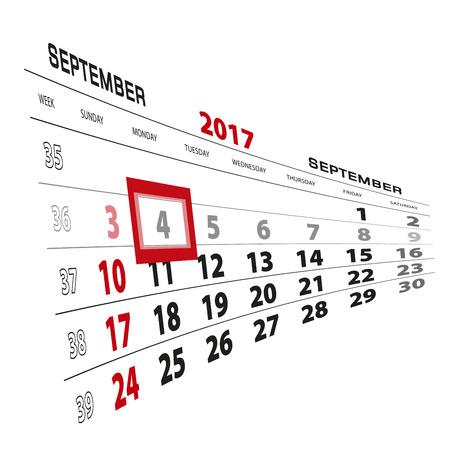beginnings: September 4, highlighted on 2017 calendar. Week starts from Sunday. Vector Illustration.