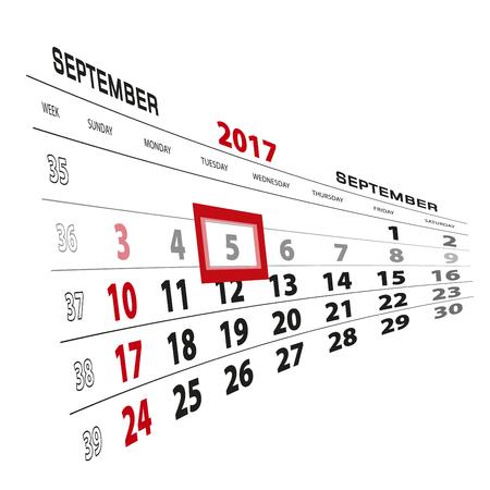 September 5, highlighted on 2017 calendar. Week starts from Sunday. Vector Illustration.