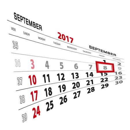 beginnings: September 8, highlighted on 2017 calendar. Week starts from Sunday. Vector Illustration. Illustration