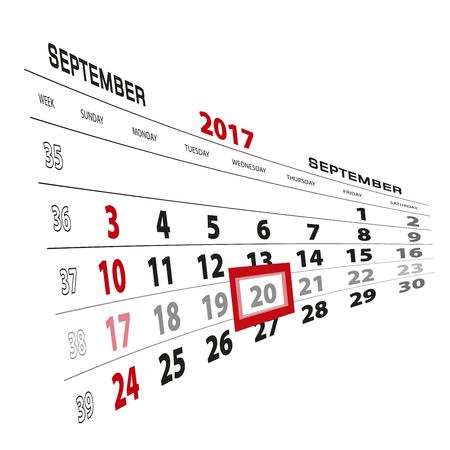 beginnings: September 20, highlighted on 2017 calendar. Week starts from Sunday. Vector Illustration. Illustration