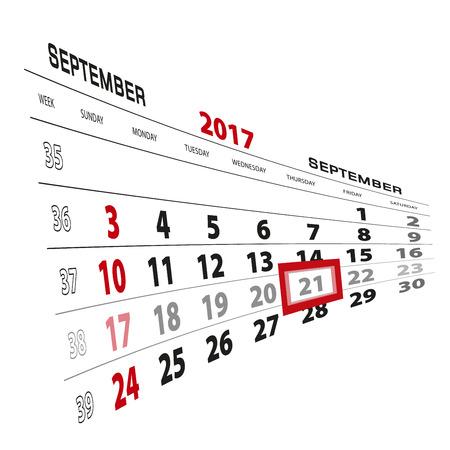 beginnings: September 21, highlighted on 2017 calendar. Week starts from Sunday. Vector Illustration. Illustration