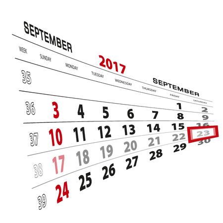 September 23, highlighted on 2017 calendar. Week starts from Sunday. Vector Illustration.