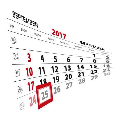 September 25, highlighted on 2017 calendar. Week starts from Sunday. Vector Illustration.