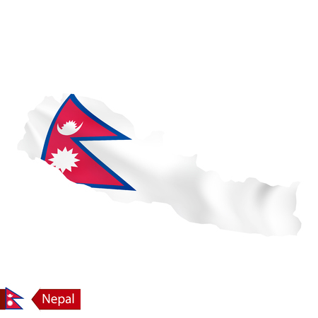 Nepal map with waving flag of country. Vector illustration.