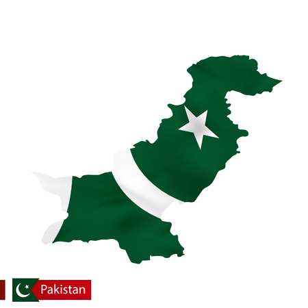 Pakistan map with waving flag of country. Vector illustration.