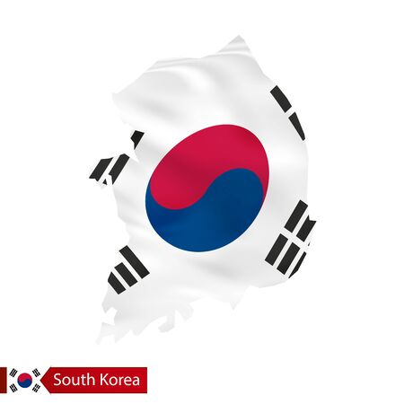South Korea map with waving flag of country. Vector illustration.