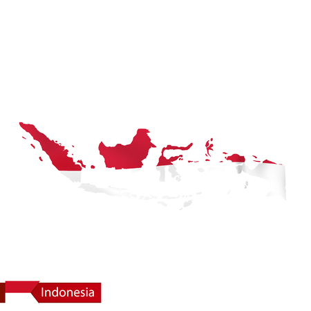 Indonesia map with waving flag of country. Vector illustration.