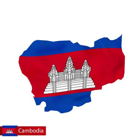 Cambodia map with waving flag of country. Vector illustration.