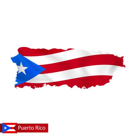 Puerto Rico map with waving flag of country. Vector illustration.