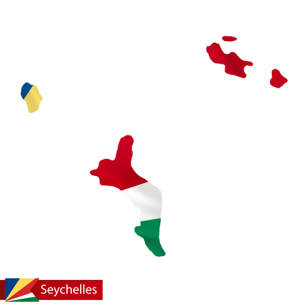 Seychelles map with waving flag of country. Vector illustration.