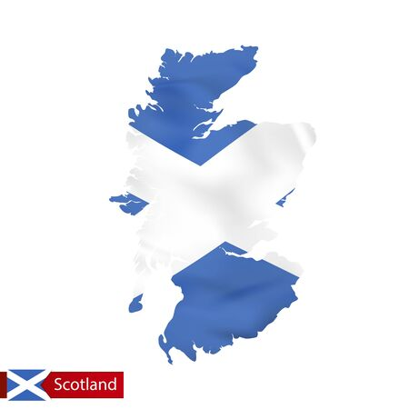 Scotland map with waving flag of country. Vector illustration. Illustration