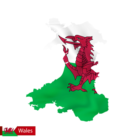 Wales map with waving flag of country. Vector illustration. Illustration