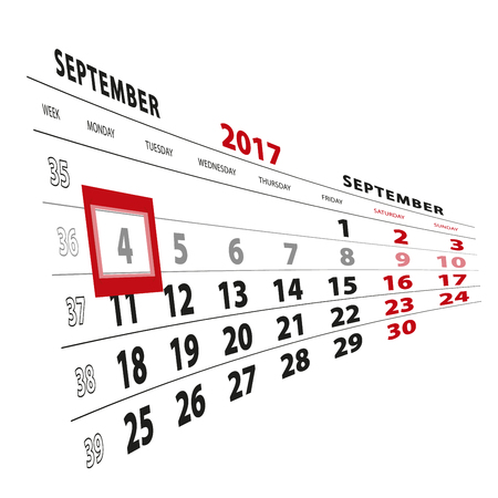 4 September highlighted on calendar 2017. Week starts from Monday. Vector Illustration.