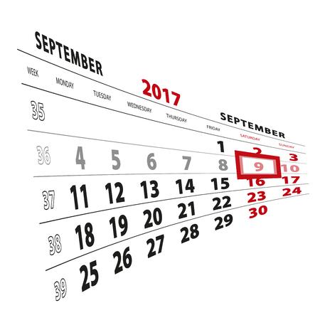 9 September highlighted on calendar 2017. Week starts from Monday. Vector Illustration.