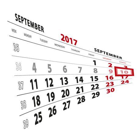 beginnings: 10 September highlighted on calendar 2017. Week starts from Monday. Vector Illustration.