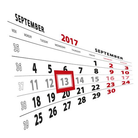 13 September highlighted on calendar 2017. Week starts from Monday. Vector Illustration.