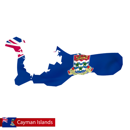 Cayman Islands map with waving flag of country. 矢量图像