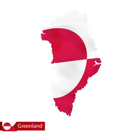 Greenland map with waving flag of country.