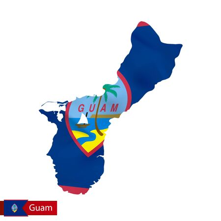 oceania: Guam map with waving flag of country. Illustration